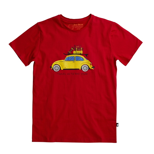BAD BEARPRINTED TEETRAVEL BEAR TEE CRIMSONRED